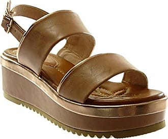 Angkorly Damen Schuhe Sandalen - Plateauschuhe - Offen - Nieten - Besetzt - Kork - Glänzende Keilabsatz High Heel 6 cm - Champagner FD23 T 36