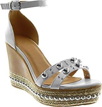 Angkorly Damen Schuhe Sandalen Pumpe - Knöchelriemen - Sexy - Perforiert - Schmuck - Golden Blockabsatz High Heel 7 cm - Rosa WH876 T 38