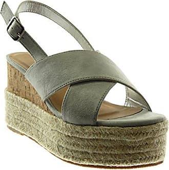 Angkorly Damen Schuhe Sandalen - Sneaker Sohle - Plateauschuhe - Glänzende - Seil Keilabsatz High Heel 7.5 cm - Silber BL208 T 38
