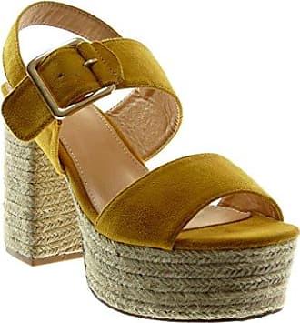 Angkorly Damen Schuhe Sandalen Mule - Plateauschuhe - Offen - String Tanga - Nieten - Besetzt - Schleife Blockabsatz High Heel 9.5 cm - Blau YL288-2 T 39