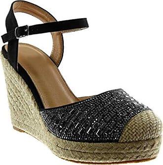 Angkorly Damen Schuhe Sandalen Mule - Knöchelriemen - Bi-Material - mit Stroh - Geflochten - Schleife Keilabsatz High Heel 6.5 cm - Schwarz YS458 T 41