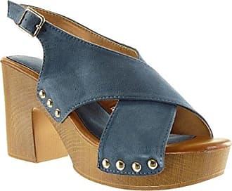 Angkorly Damen Schuhe Sandalen Mule - Plateauschuhe - Offen - String Tanga - Nieten - Besetzt - Schleife Blockabsatz High Heel 9.5 cm - Schwarz YL288-2 T 37