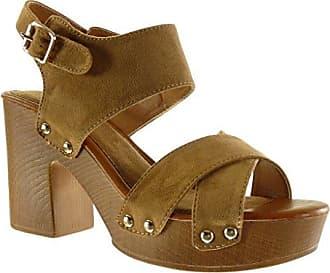 Angkorly Damen Schuhe Sandalen Mule - Plateauschuhe - Nieten - Besetzt - Metallisch - Wooden Blockabsatz High Heel 14 cm - Schwarz PN1566 T 36