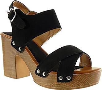 Angkorly Damen Schuhe Sandalen Mule - Plateauschuhe - Offen - String Tanga - Nieten - Besetzt - Schleife Blockabsatz High Heel 9.5 cm - Blau YL288-2 T 37