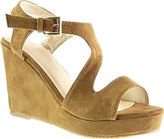 Angkorly Damen Schuhe Sandalen Mule - Knöchelriemen - Plateauschuhe - String Tanga - Kork - Schleife Keilabsatz High Heel 8.5 cm - Lila YS465 T 38