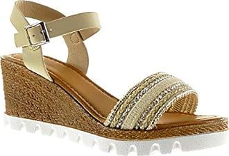 Angkorly Damen Schuhe Sandalen Mule - Plateauschuhe - Sneaker Sohle - String Tanga - Geflochten - Strass Keilabsatz High Heel 7 cm - Beige FD26 T 40