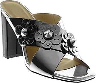 Angkorly Damen Schuhe Sandalen Mule - Slip-On - Blumen - Nieten - Besetzt - Patent Blockabsatz High Heel 10.5 cm - Schwarz Patent 6307116 T 39