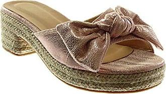 Angkorly Damen Schuhe Sandalen Mule - Plateauschuhe - Knöchelriemen - BI-Material - Seil - Geflochten Blockabsatz 5.5 cm - Beige BL1 T 39