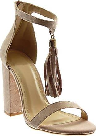 Angkorly Damen Schuhe Sandalen - knöchelriemen - Bommel - Fransen - String Tanga Blockabsatz High Heel 4 cm - Beige 660-1 T 39