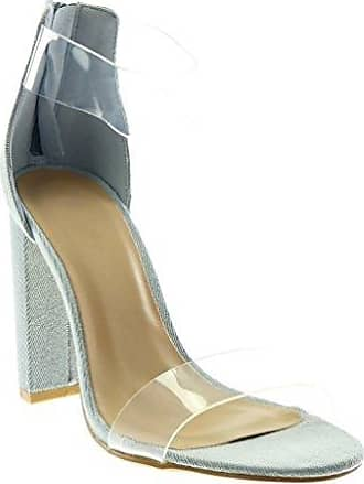 Angkorly Damen Schuhe Sandalen - Knöchelriemen - Bommel - Fransen - String Tanga Blockabsatz High Heel 4 cm - Schwarz 660-1 T 37