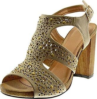 0e403400ccf2 Damen Schuhe Sandalen Pumpe - Knöchelriemen - Nieten - Besetzt - Strass -  Wooden Blockabsatz High