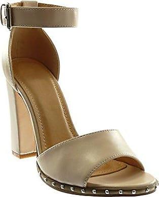 Angkorly Damen Schuhe Sandalen Mule - Slip-on - Blumen - Nieten - Besetzt - Patent Blockabsatz High Heel 10.5 cm - Champagner 6307116 T 40