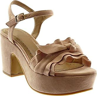 Angkorly Damen Schuhe Sandalen - Knöchelriemen - Schleife - Gekreuzte Riemen Blockabsatz High Heel 4 cm - Hellrosa 660-2 T 39