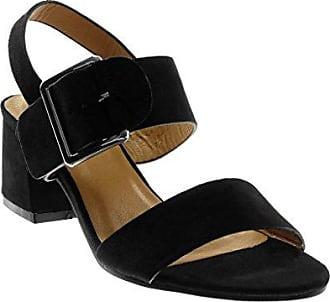 Angkorly Damen Schuhe Sandalen - Knöchelriemen - Nieten - Besetzt - Metallisch - String Tanga Blockabsatz 2 cm - Schwarz 88-230 T 38