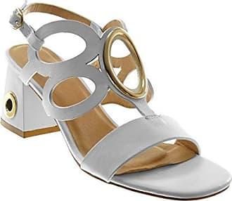 Angkorly Damen Schuhe Sandalen Pumpe - Knöchelriemen - Sexy - Perforiert - Schmuck - Golden Blockabsatz High Heel 7 cm - Schwarz WH876 T 37