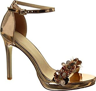 Angkorly Damen Schuhe Sandalen Pumpe - Stiletto - Sexy - Schick - Blumen - Strass - String Tanga Stiletto High Heel 10.5 cm - Gold 238-2 T 39