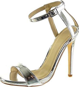 Angkorly Damen Schuhe Sandalen Pumpe - Stiletto - Sexy - Schick - Blumen - Strass - String Tanga Stiletto High Heel 10.5 cm - Silber 238-2 T 37