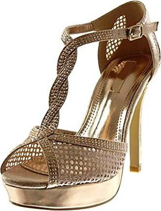 Angkorly Damen Schuhe Pumpe Sandalen - T-Spange - Stiletto - Peep-Toe - glänzende - Spitze Stiletto High Heel 8.5 cm - Champagner W60 T 39