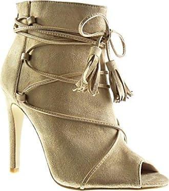 Angkorly Damen Schuhe Sandalen Stiefeletten - Stiletto - Sexy - Offen - Spitze - Fransen - Bommel Stiletto High Heel 10.5 cm - Grüne 238-9 T 37