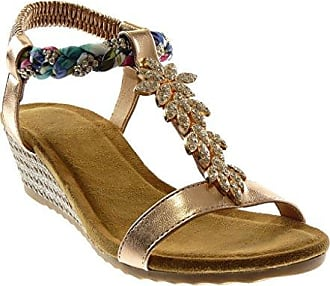 Angkorly Damen Schuhe Sandalen - T-Spange - Strass - Geflochten - Fantasy Keilabsatz High Heel 4.5 cm - Gold WH872 T 40