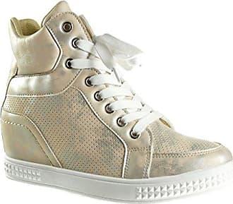 Angkorly Damen Schuhe Sneaker - Hohe - Plateauschuhe Flache Ferse 3 cm cm - Camel RW721 T 40