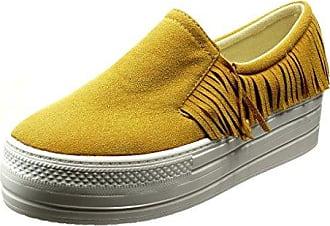 Angkorly Damen Schuhe Sneaker - Plateauschuhe - Slip-on - Fransen Keilabsatz High Heel 5 cm - Schwarz 633-1 T 37