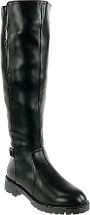 Angkorly - damen Schuhe Stiefel - Reitstiefel - Kavalier - Biker - Nieten - besetzt - String Tanga - Schleife Blockabsatz high heel 3.5 CM - Schwarz HX- T 38