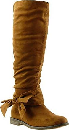Angkorly - damen Schuhe Stiefel - Reitstiefel - Kavalier - Flexible - Knoten Blockabsatz 2 CM - Khaki F2163 T 37