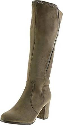 Angkorly Damen Schuhe Stiefel - Reitstiefel - Kavalier - Flexible - Strass - Reißverschluss Blockabsatz High Heel 7.5 cm - Khaki B7555 T 38