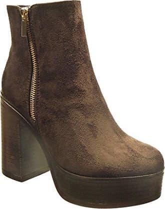 Angkorly Damen Schuhe Stiefeletten - Reitstiefel - Kavalier - Bi-Material - Gesteppt Schuhe - Knoten - Camouflage Blockabsatz 3.5 cm - Schwarz F1062 T 40