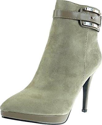 Angkorly Damen Schuhe Stiefeletten - Plateauschuhe - Sexy - Stiletto - Reißverschluss - Schleife - Golden Stiletto High Heel 12.5 cm - Schwarz G200-3 T 37