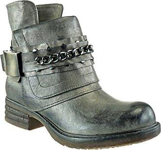 Angkorly Damen Schuhe Stiefeletten - Reitstiefel - Kavalier - Bi-Material - Gesteppt Schuhe - Knoten - Camouflage Blockabsatz 3 cm - Gold F1022 T 37