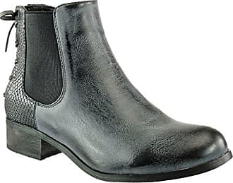 Angkorly Damen Schuhe Stiefeletten - Chelsea Boots - Reitstiefel Kavalier - Vintage-Stil - Schlangenhaut - Knoten - Spitze Blockabsatz 3 cm - Schwarz 2 F912 T 39