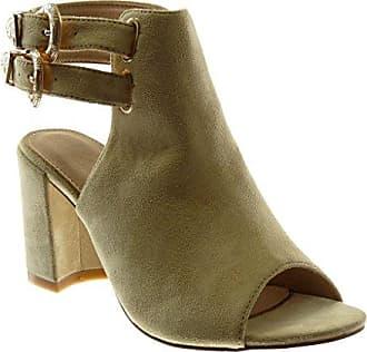 Damen Schuhe Stiefeletten Sandalen - Offen - Peep-Toe - Schnürsenkel aus  Satin Blockabsatz High 230b318326