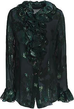 Anna Sui Woman Ruffle-trimmed Metallic Silk-blend Fil Coupé Shirt Forest Green Size 4 Anna Sui