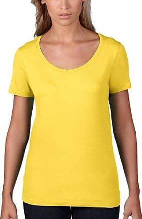 Woman Scoop Tee L/S - T-Shirt - Évasée - Uni - Col Ras Du Cou - Manches Longues - Femme, Bleu (Nav Navy 032), 38 (Taille fabricant: S)Anvil