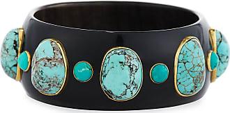 Ashley Pittman Michezo Turquoise-Studded Dark Horn Bangle