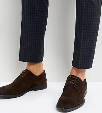 Chaussures derby en daim à lacets avec semelle hybride - Gris