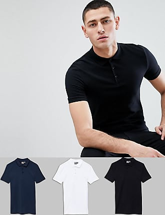 DESIGN Muscle Fit Polo In Jersey 2 Pack Save - Wht/ picante Asos