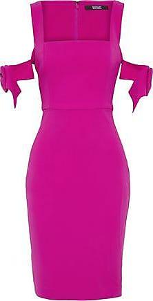 Badgley Mischka Woman Bow-embellished Stretch-cady Dress Magenta Size 8 Badgley Mischka