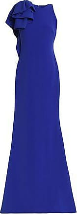 Badgley Mischka Woman Ruffle-trimmed Crepe Gown Royal Blue Size 12 Badgley Mischka