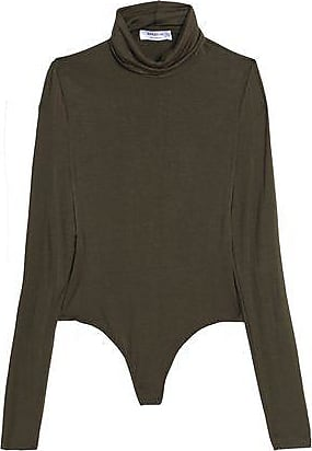 Bailey 44 Woman Mélange Stretch-jersey Turtleneck Bodysuit Army Green Size L Bailey 44