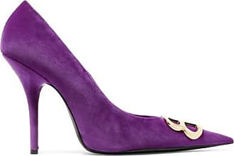 Knife Logo-embellished Velvet Pumps - Purple Balenciaga