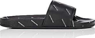 744a2f4e213d Balenciaga Mens Mens Logo-Stamped Leather Slide Sandals