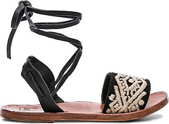 Leather & Embroidery Toucan Sandals in Black. - size 8 (also in 6,7,9) beek