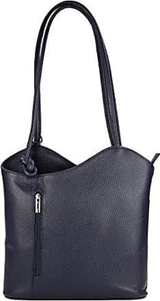 ital. Ledertasche Backpack 2in1 Rucksack Handtasche Schultertasche - Freie Farbwahl - 28x28x8 cm (B x H x T) (Braun strauss (kastanienbraun)) Belli