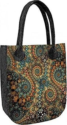 Damen Tasche Schultertasche Shopper Umhängetasche Handtasche Filztasche Grau Farbe Grau Bertoni
