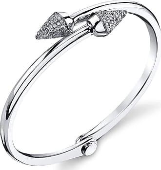 Borgioni Small Spike Handcuff in White Gold and pave diamonds