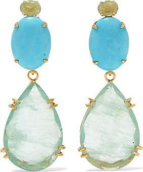 Bounkit Woman Gold-tone Stone And Crystal Earrings Turquoise Size Bounkit