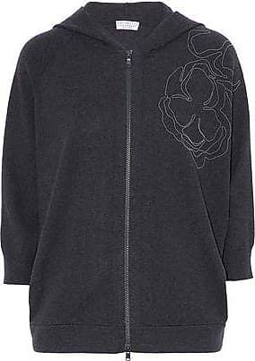 Brunello Cucinelli Woman Bead-embellished Open-knit Linen-blend Hooded Top Navy Size L Brunello Cucinelli